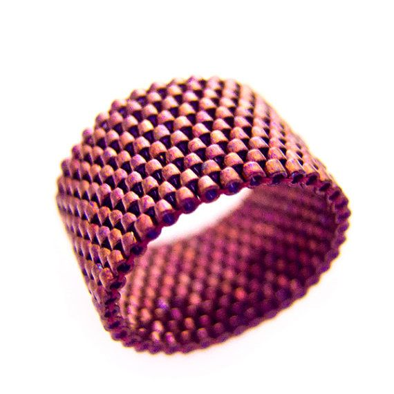 Oxblood Ring / Red Rust Ring / Beaded Red Ring / Ring Band / Deep Red / For Her