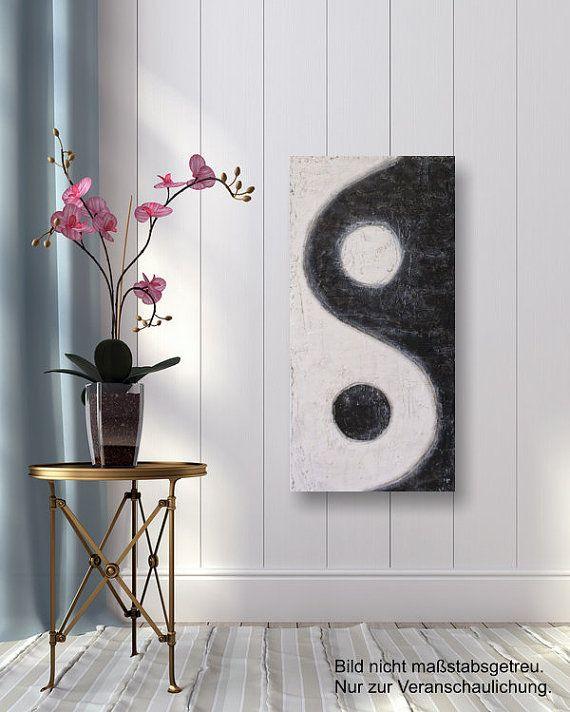Yin-Yang; a rectangular interpretation/reminder of taijitu elements - Original Acrylbild
