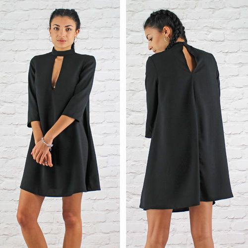 Glamorous Black Key Hole Front Polo Neck Swing Dress Instore And Online www.pinkcadillac.co.uk