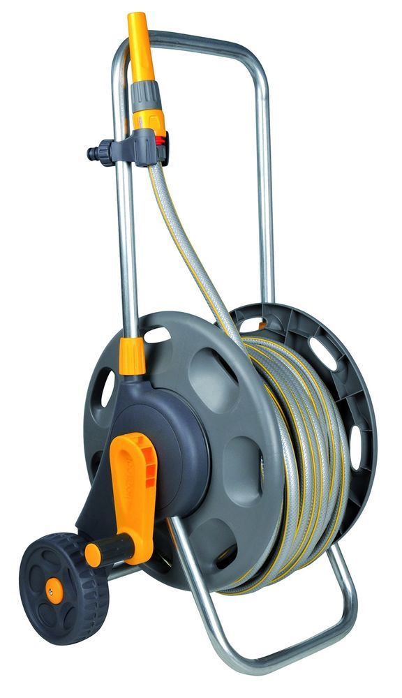 50m Hose Trolley Pipe Reel Garden Water Carrier Robust Cart Holder New
