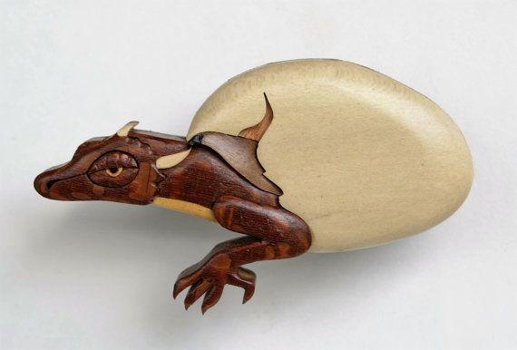 Dragon Hatchling Wooden Magnet Fantasy Intarsia Wood Carving Mythical Ornament