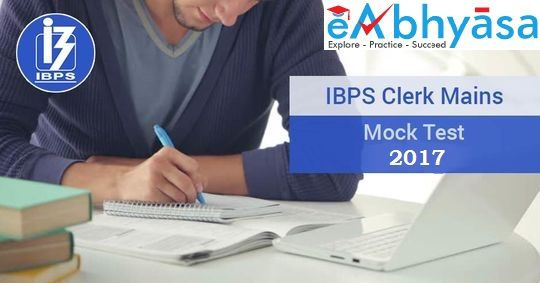 IBPS Clerk #Free Online Exams Mock test for #IBPS Clerk exams with explanation, #competitive examination and entrance test. eAbhyasa provide Fully solved examples with detailed Report.  The schedule of ibps clerk Preliminary exam will be held on 02.12.2017, 03.12.2017, 09.12.2017 & 10.12.2017 and Main exam should be held on 21.01.2018.  More Info: https://www.eabhyasa.com/
