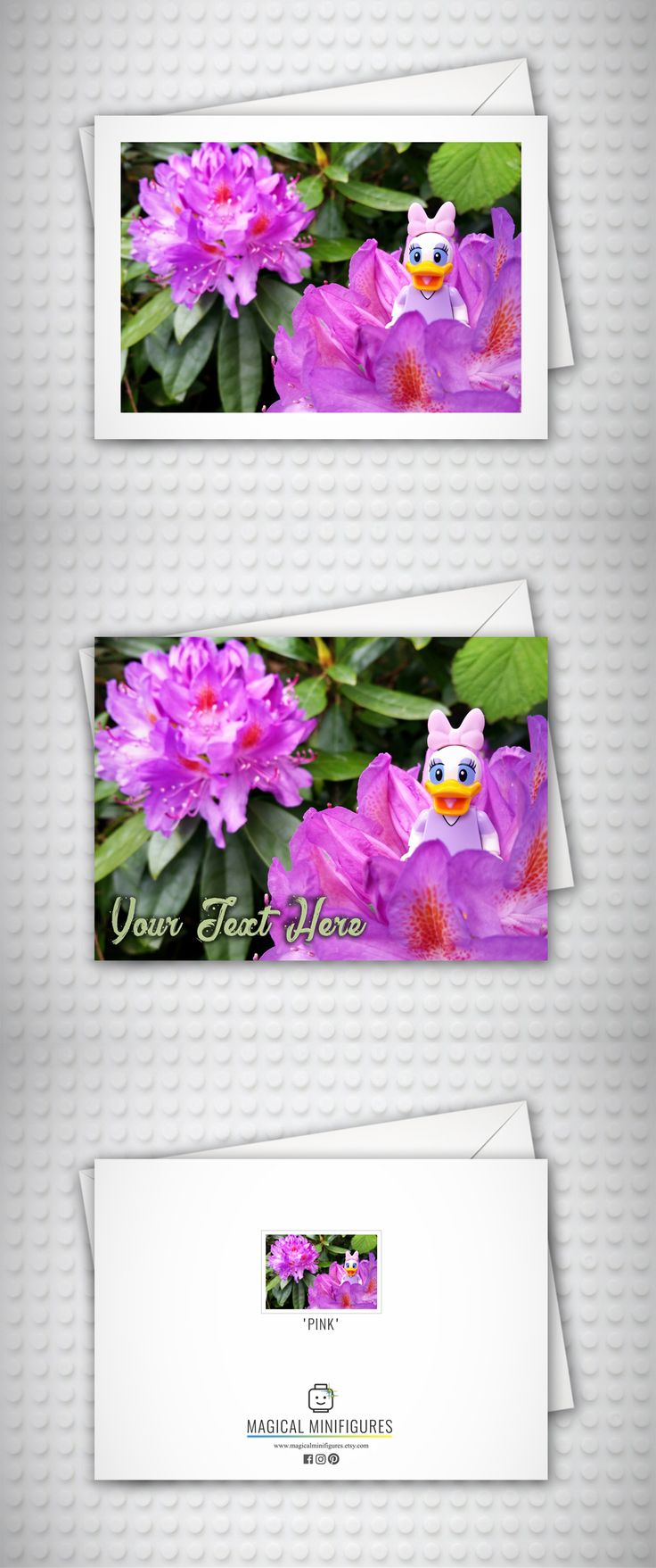 Daisy Duck - Disney - Lego Minifigure - Flowers - Pink - Birthday Card - Personalised Card - Thank You Card