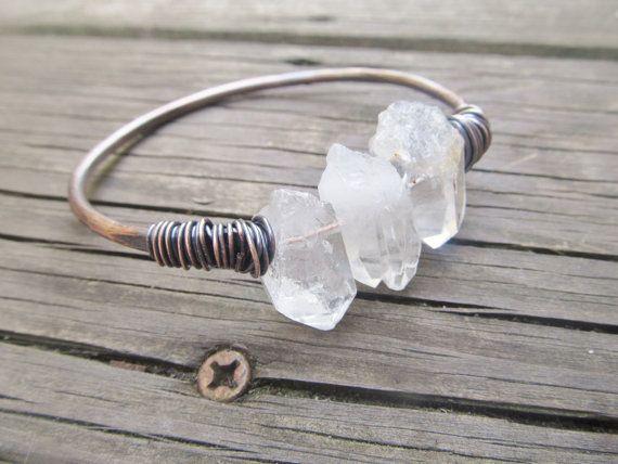Raw Quartz Bangle Bracelet Wire Wrap Jewelry by daniellerosebean, $32.00
