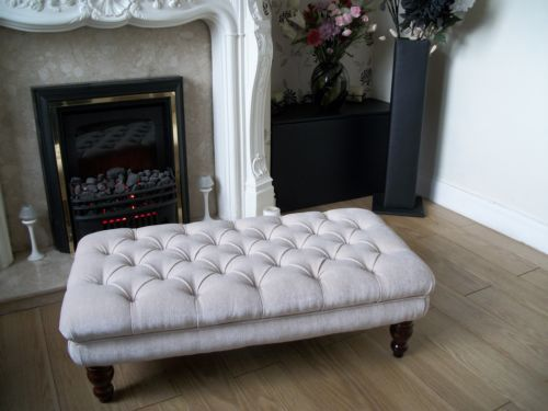 Chesterfield Style Oxford Deep Buttoned Large Footstool / Coffee Table | eBay