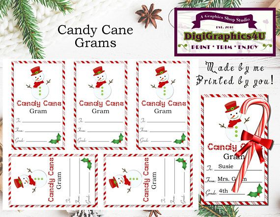 christmas or holiday snowman candy cane grams or paper