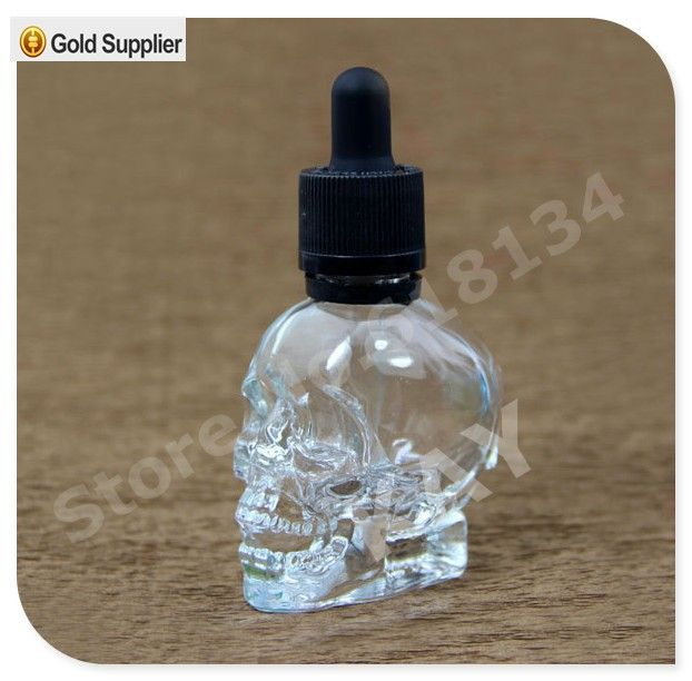 30 ml hình dạng hộp sọ thủy tinh nhỏ giọt chai đối với e-nước trái cây, 30 ml skull head glass eliquid chai nhỏ giọt, 30 ml kính hộp sọ chai