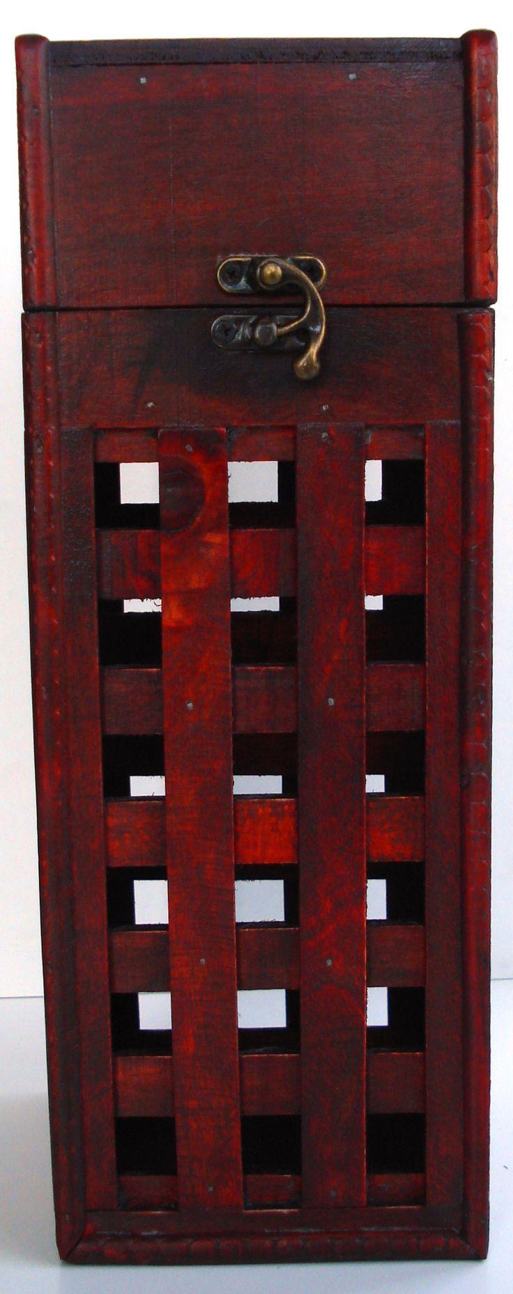 Krabica Obal Kazeta Box 1 fľaša drevená rustikálna ... www.vinopredaj.sk ... Vonkajšie rozmery v cm : v x š x h : 33,5 x 12 x12