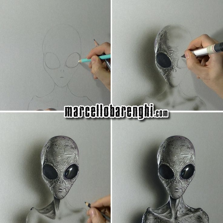 Marcello Barenghi: A Grey Alien - drawing phases  Watch me draw it: https://www.youtube.com/watch?v=bHq81pey3TY&list=UUcBnT6LsxANZjUWqpjR8Jpw #grey #alien #drawing #marcellobarenghi