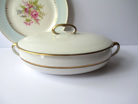 Vintage Covered Dish Grindley Beaumont Cream Gold