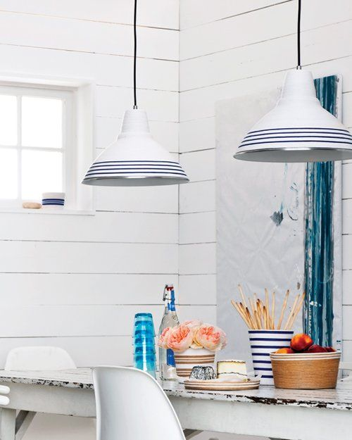 Easy DIY to give an ordinary desk lamp some clean, nautical style.
