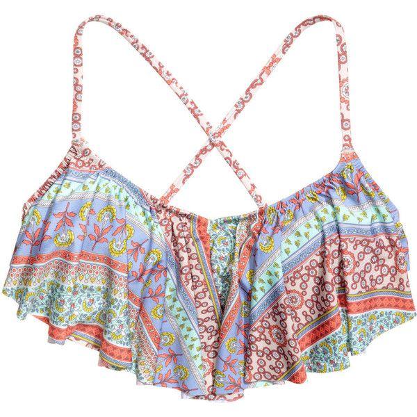 Ruffled Bikini Top $17.99 ($18) ❤ liked on Polyvore featuring swimwear, bikinis, bikini tops, print bikini, tie-dye swimwear, tie bikini, swimsuit tops and frilly bikini