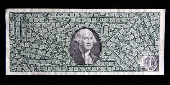 "Max Shuster: Economic Solution Number Two,  collage consisting of cut united states currency, pasted onto a one dollar bill. collage is entirely made from one-dollar bills, acid-free adhesive. the back side of the dollar was cut for this particular one ""took cut money to bank, they gave me new one"""
