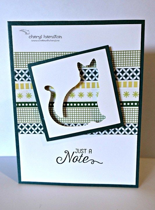 Just A Note card by Cheryl Hamilton - Stampin Up #hereKittyKitty #cherylhamilton #stampinup #handmadecard #kitty #catcard
