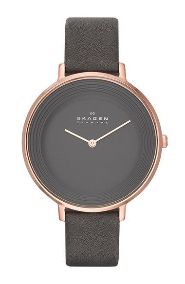 Must-have fall watch | 'Ditte' Textured Dial Leather Strap Watch, 37mm