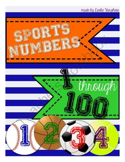 Sports Themed Numbers 1-100 from LeslieVarghese on TeachersNotebook.com -  (27 pages)  - The perfect addition to your sports themed classroom decor! 4 designs:baseball, basketball, soccer, and tennis numbered 1-100.