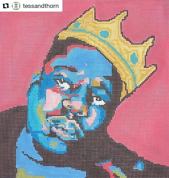 Very glad that @tessandthorn are doing their part to make the world of needlepoint a bit more gangsta. #regram @tessandthorn #needlepoint #biggie #gangsta #creativityfound #king #mrxstitch via The Mr X Stitch official Instagram Share your stitchy 'grams with us - @mrxstitch #xstitchersofinstagram #mrxstitch
