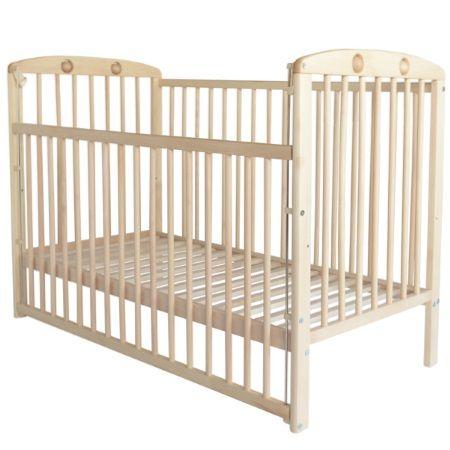 Klasyczne łóżeczko dziecięce z kulkami w ramie oraz regulacją wysokości szczebelek, wykonane z drewna bukowego. Dodatkowo istnieje możliwość montażu stelaża na dwóch wysokościach - na dole łóżka (jak na zdjęciu) a także w połowie (w miejscu gdzie są widoczne dziurki).