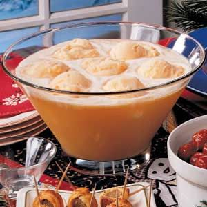 Fruity Sherbet Punch Recipe   15-20 Servings 15 Ingredients  4 cups each apple, pineapple and orange juice, chilled  2 liters ginger ale, chilled  1 to 2 quarts orange or pineapple sherbet.  In a large punch bowl, combine juices. Stir in ginger ale. Top with sherbet. Serve immediately. Yield: 15-20 servings (about 5 quarts).      Nutritional Facts   1 serving (1 cup) equals 149 calories, 1 g fat (trace saturated fat), 2 mg cholesterol, 23 mg sodium, 36 g carbohydrate, trace fiber, 1 g…