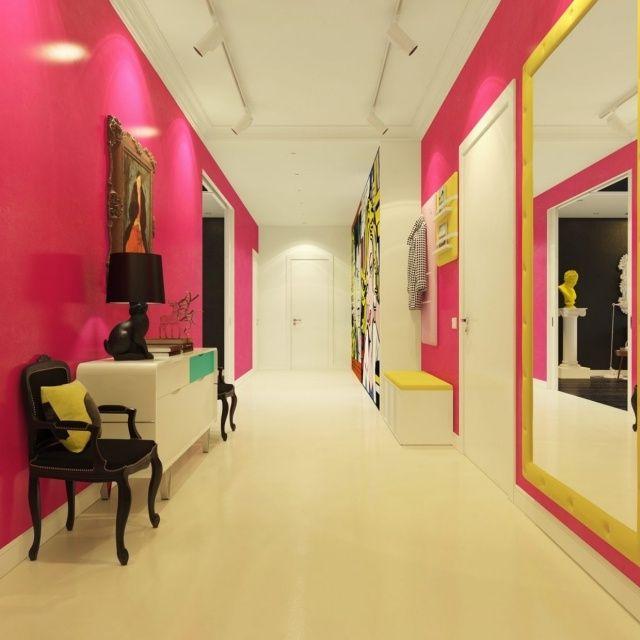 Wanddesign im Stil Pop-Art-pinke Wände-gelbe Tapezierung-eklektisch