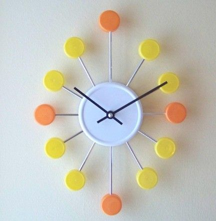Bottle Cap Clock (Upcycled) - Very retro-looking!