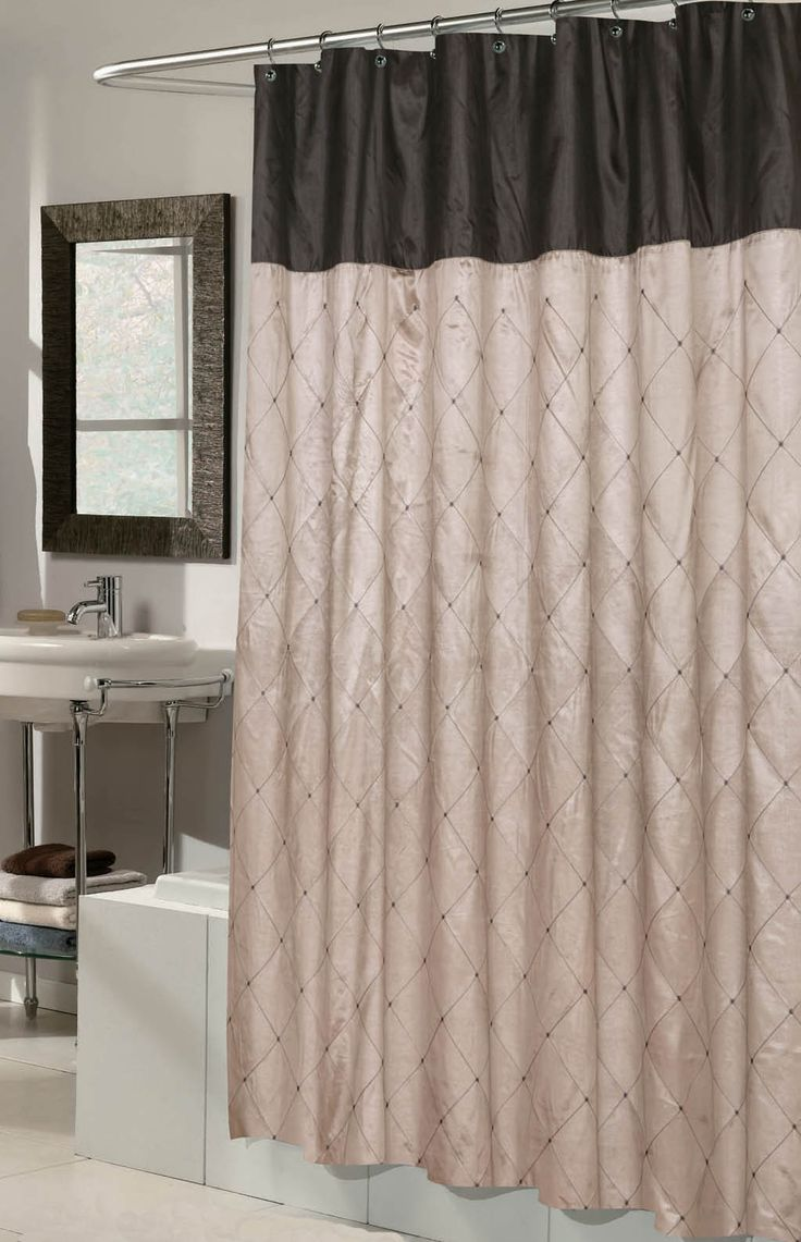 Diamond Patterned Fabric Shower Curtain Taupe Amp Black