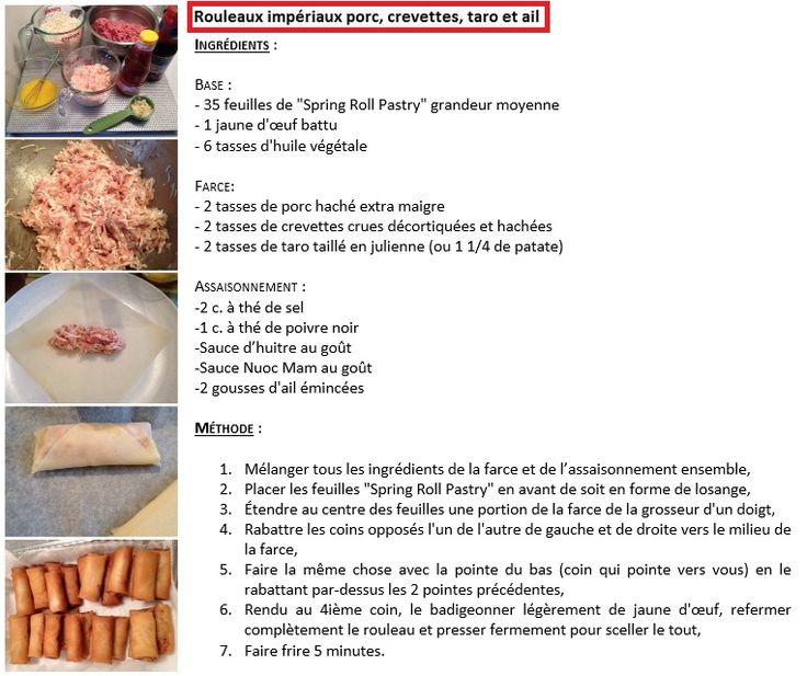 rouleaux impériaux porc, crevettes, taro et ail