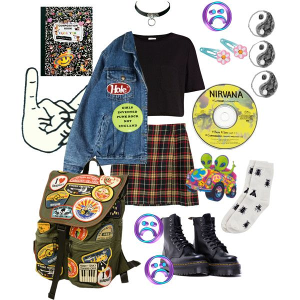 PUNK SCUM by babyspice667 on Polyvore featuring River Island, Monki, Dr. Martens, Clips, sad, Punk, grunge, 90s and Street