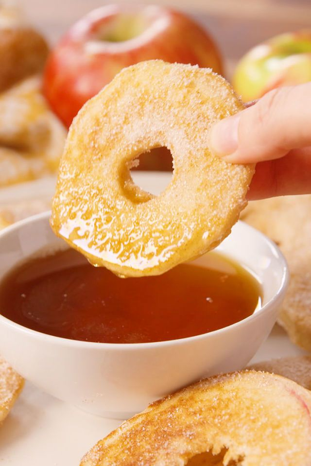 Apple Pancake Dippers  - Delish.com   ***Use gluten free pancake mix and organic maple syrup