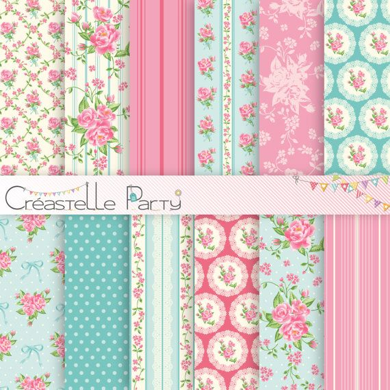 Editable turquoise Shabby Chic party decoration by CreastelleParty