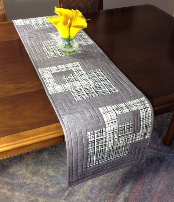 Modern Table Runner Taupe White & Grey Wallhanging by FabriArts