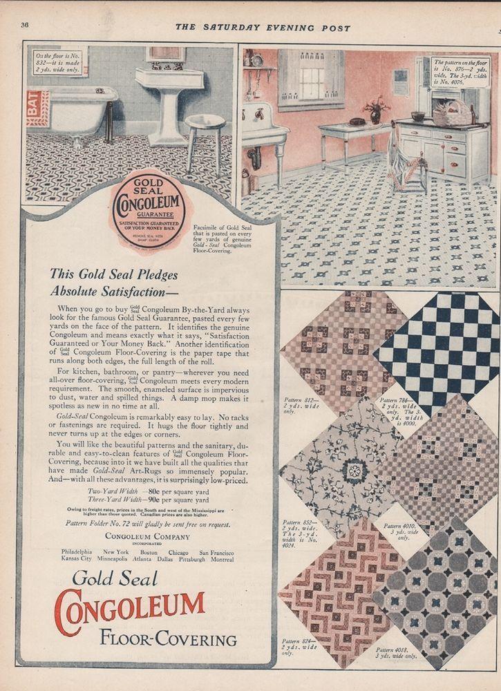 1923 Congoleum Gold Seal Art Rugs Flooring 1920 S Kitchen Theme Wood Pattern Ad Ebay