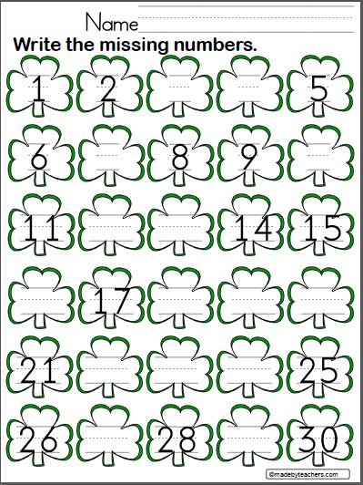 St. Patrick's Day Write the Missing Numbers to 30