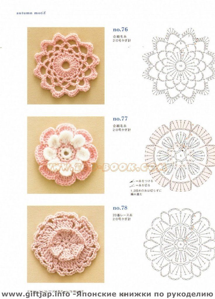 Flores de crochê com diagrama