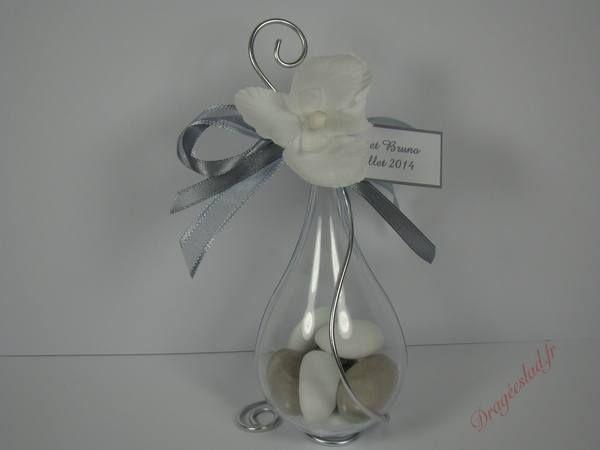 Contenant dragees gris orchidée, Goutte originale dragées mariage - Dragéeslad