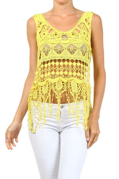 Delusive Cropped & Fringed Top