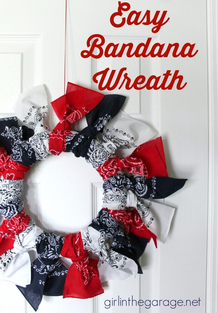 Easy Bandana Wreath - It only takes about 30 minutes!  girlinthegarage.net
