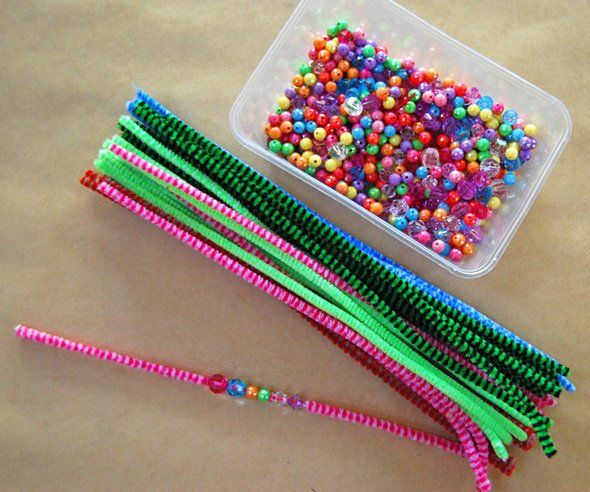 Make bracelets out of beads and pipe cleaners - could even use the alphabet beads