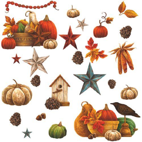 RoomMates PJ2000SCS Bountiful Harvest Peel and Stick Wall Decals >>> Final call for this special discount  : Christmas Home Decor