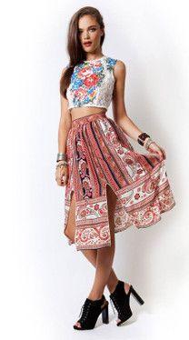 Inhibition Skirt  #bohostyle #bohemianstyle #gypsystyle #midiskirt #printedskirt