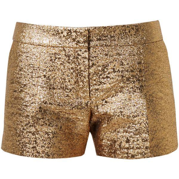 LANVIN Metallic Lamé Shorts (5.030 HRK) ❤ liked on Polyvore featuring shorts, bottoms, short, lanvin, summer shorts, mid rise shorts, metallic gold shorts en short shorts