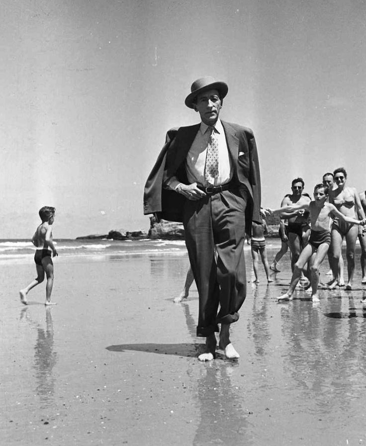 Jean Cocteau was a French poet, novelist, dramatist, designer, playwright, artist and filmmaker. |  Biarritz, 1949
