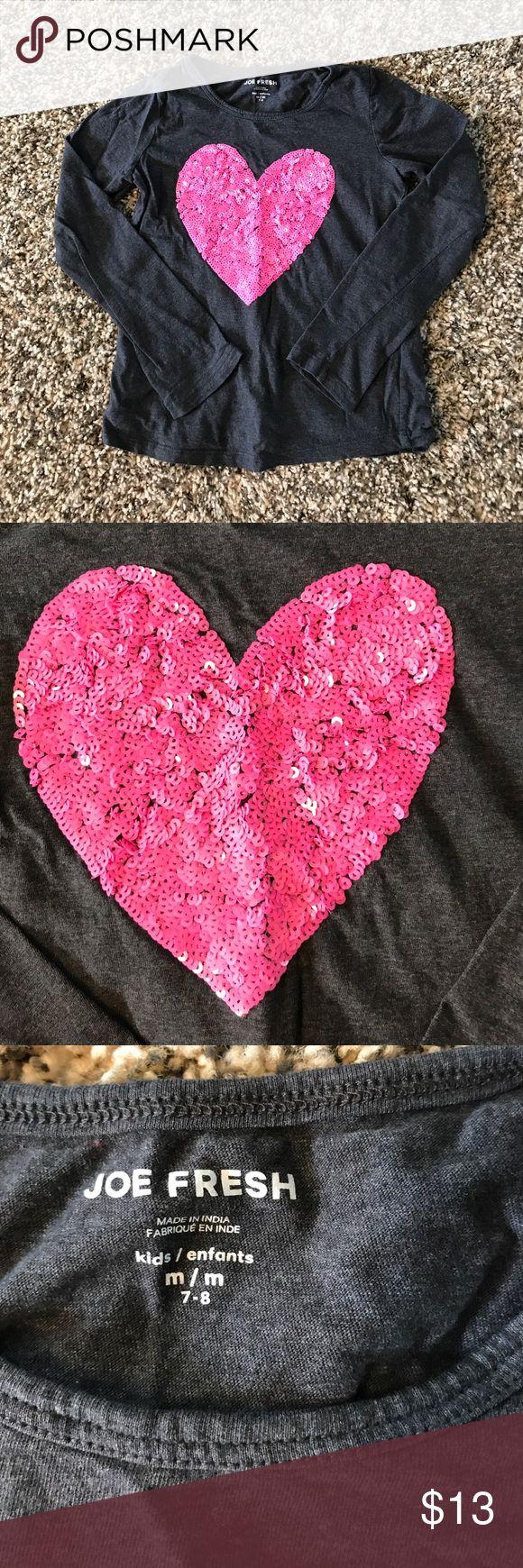Joe Fresh Sequin Shirt EUC Joe Fresh Sequined Heart Shirt. Girls 7-8 Joe Fresh Shirts & Tops Tees - Long Sleeve