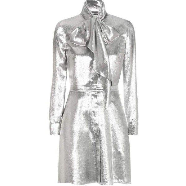 Saint Laurent Metallic Silk-Blend Dress (€2.570) ❤ liked on Polyvore featuring dresses, outerwear, silver, yves saint laurent dress, white dress, metallic dress, white day dress and white metallic dress