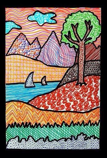 textured landscape drawing. Students start by drawing a simple outline of a landscape (grass, hills, trees, mountains, river, lake, etc) and then fill each section with a different colour and texture.