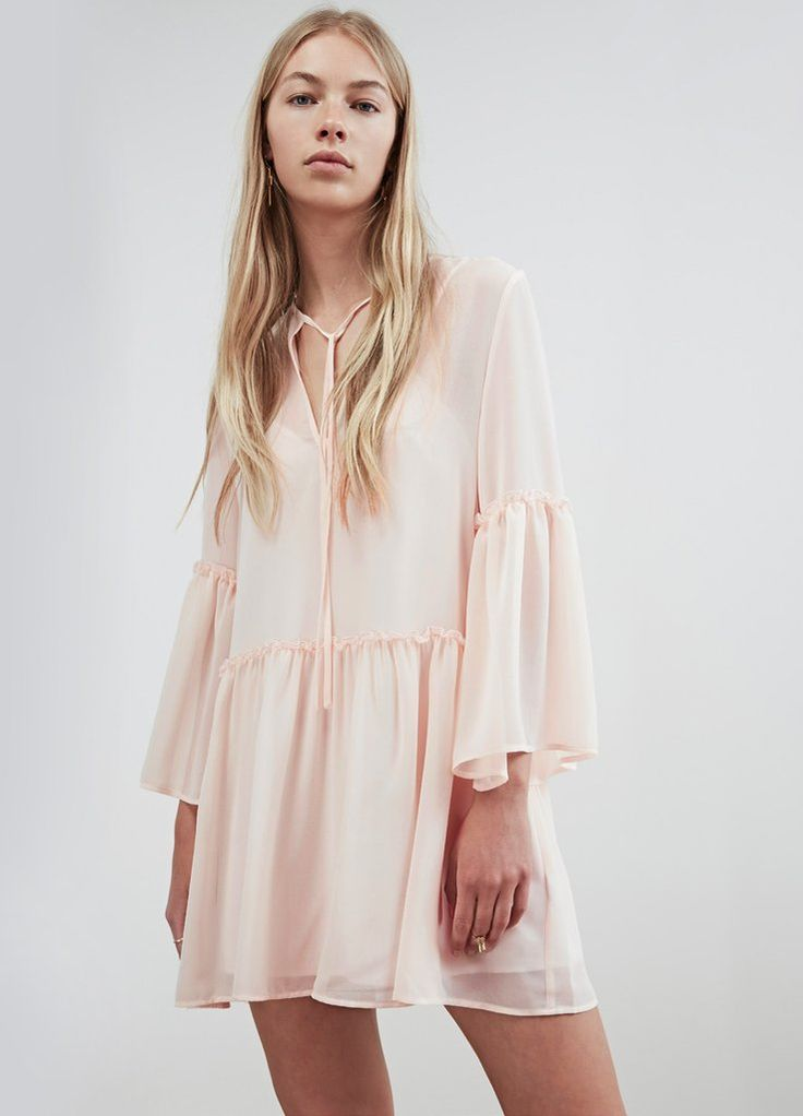 VOYAGE LONG SLEEVE DRESS shell pink