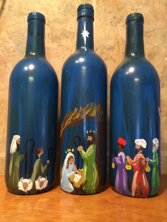 Hey, I found this really awesome Etsy listing at https://www.etsy.com/listing/223107555/nativity-story-painted-wine-bottles-set