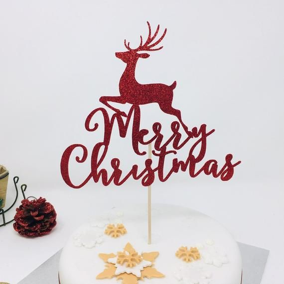 Merry Christmas Cake Topper With Reindeer Christmas Cake Etsy In 2021 Christmas Cake Topper Christmas Cake Decorations Diy Cake Topper