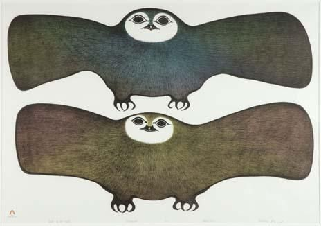Inuit art:  PITALOOSIE SAILA (1942-), E7-1006, Cape Dorset OWLS OF THE NIGHT, lithograph