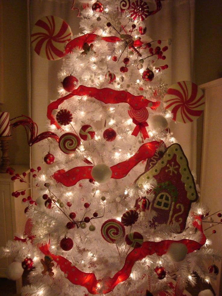 White Christmas Tree With Colorful Peppermint Candy And Cute Lamps Gingerbread Men Houses
